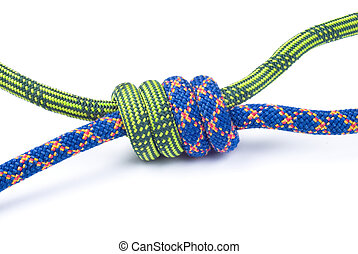 Rope for mountaineering. Grapevine knot. - Rope for...