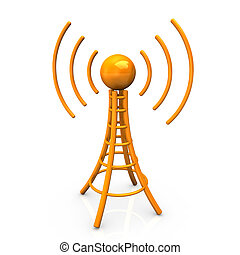 Orange Antenna Tower - Orange antenna tower with radiowaves...