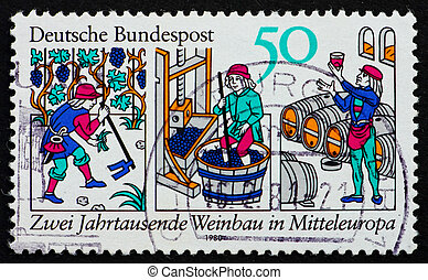 Postage stamp Germany 1980 Wine production - GERMANY - CIRCA...