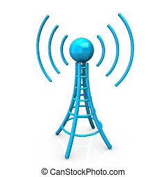 Blue Antenna Tower - Blue antenna tower with radio waves, on...