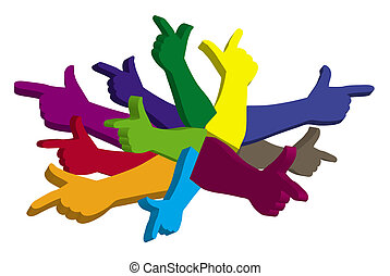 Color hands pointing in different directions