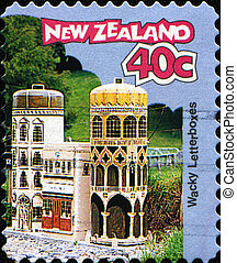 Wacky - Letterboxes - NEW ZEALAND - CIRCA 1997: A stamp...