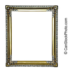 gold frame - gold antique frame isolated on white background...