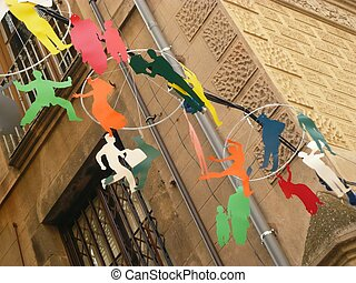 street decorations - colourful street decorations in...