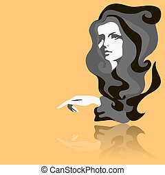 Fashion model. Vector illustration. Woman's face
