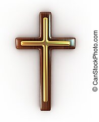 Wooden cross on white background