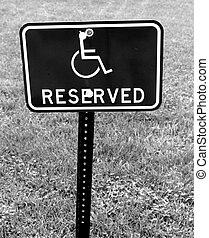 RESERVED FOR HANDICAPPED SIGN