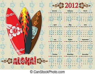 Vector Aloha calendar 2012 with surf boards - American Aloha...