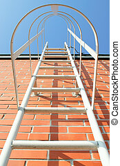 Ladder to the roof - Metal ladder on the roof of an...