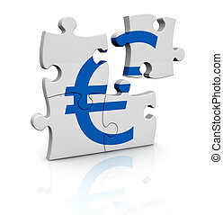 currency concept - puzzle pieces that form the symbol of...