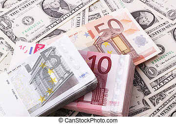 wads - Wads of 5, 10, 50 Euro bills on one-dollar bills