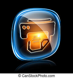 printer icon neon, isolated on black background.