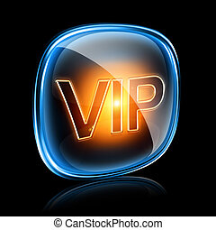 Vip icon neon, isolated on black background