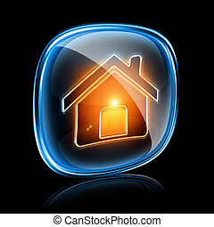 House icon neon, isolated on black background