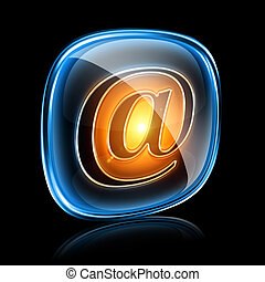 email icon neon, isolated on black background
