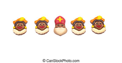 Chocoloate Sinterklaas with Piets - Row of chocolate Dutch...