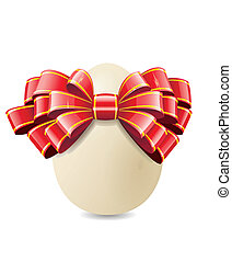 Chicken egg for Easter. - Chicken egg and red bow are shown...