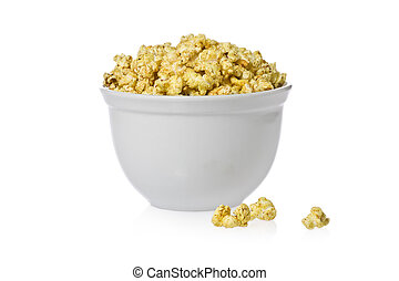 Spicy Popcorn - Bowl of spicy popcorn against a white...