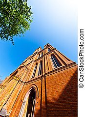 famous Markt Kirche in Wiesbaden, a brick building in...