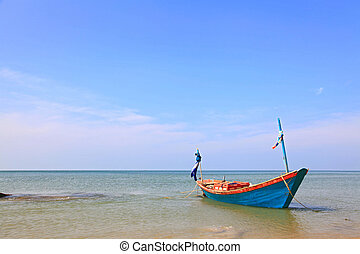Boat on the beach - Long Tail Boat on the beach, Thailand