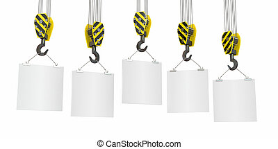 Crane hooks with empty boards. 3d - Crane hooks with empty...