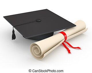 Graduation. Mortarboard and diploma. 3d - Graduation....