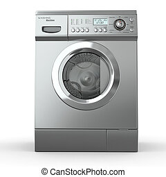 Closed washing machine on white background 3d