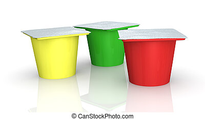 yoghurt cups - three cups of yoghurt in different colors (3d...