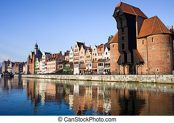 City of Gdansk - Waterfront of the Old Town along the river...