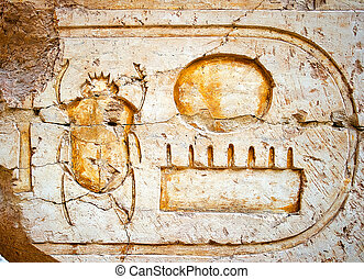 Wall with hieroglyphs and beetle-scarab in the Karnak Temple...