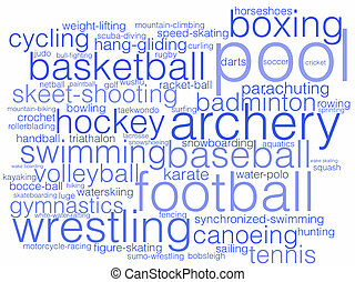 Sports - A word cloud listing a variety of different sports.