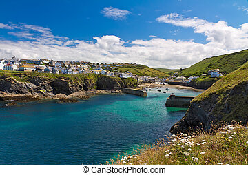 Cove and harbour of Port Isaac with white flowers, Cornwall,...