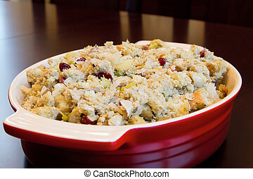Thanksgiving Day Turkey Dinner Stuffing in a Bowl Closeup