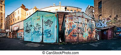 garagens, Enferrujado, antigas