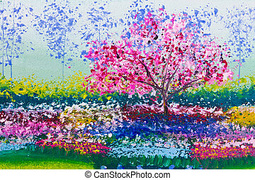 painting of flowers field and tree