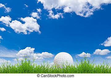 golf ball on green grass against blue sky
