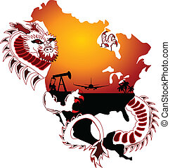 exploration - a chinese dragon wraps himself around north...