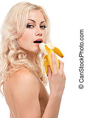 Girl with banana - Attractive young girl with banana -...