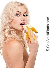 Girl with banana - Attractive young girl with banana -...