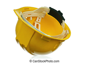 Hard hat - Yellow safety hard hat on white background