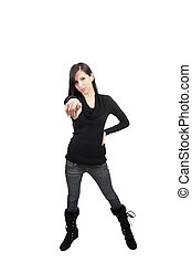 Young caucasian woman pointing jeans boots sweater