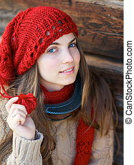 Girl with red hat - Young girl with ski mask and red hat and...