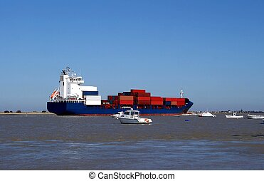 Cargo vessel with merchandise