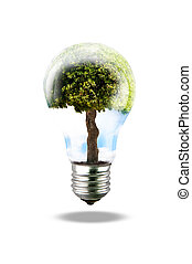 Green energy lamp with tree