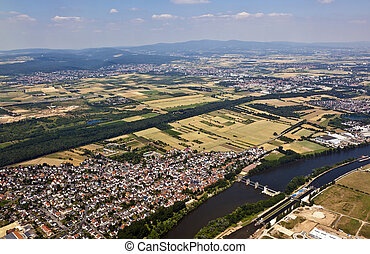 old town of Eddersheim on river Main in Germany with...