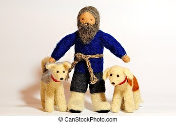 oldmen with dogs - soft toys - old men with dogs close-up
