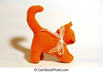orange toy kitten - waldorf toy, orange kitten, close-up