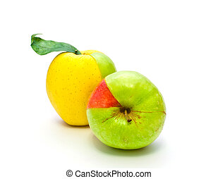 colored apples on a white background
