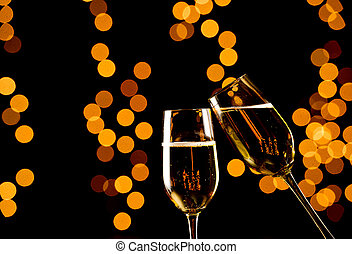 Celebratory Glasses of Champagne - Pair of champagne flutes...