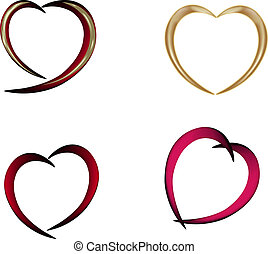 Set of hearts - Set of red golden hearts